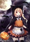 1girl :d animal animal_ears animal_hood apron bangs bat black_bow black_cape black_gloves black_legwear blush bow cape commentary crystal english_commentary eyebrows_visible_through_hair fake_animal_ears flandre_scarlet frilled_apron frills full_moon gloves glowing halloween halloween_basket highres holding hood hood_up hooded_cape kashiwagi_yamine light_brown_hair long_hair looking_at_viewer moon night night_sky one_side_up open_mouth orange_shirt orange_skirt pleated_skirt red_eyes shirt skirt sky smile solo star_(sky) starry_sky thigh-highs touhou waist_apron white_apron white_bow wings
