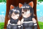 2girls absurdres animal_ears australian_devil_(kemono_friends) bare_shoulders bow bowtie clouds cloudy_sky commentary_request elbow_gloves eyepatch fang gloves gradient_hair harusame68 highres kemono_friends kemono_friends_3 long_hair mountain multicolored_hair multiple_girls short_hair signature sky sleeveless tasmanian_devil_(kemono_friends) tree under_tree