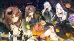 404_(girls_frontline) 4girls :3 bangs bare_shoulders blunt_bangs blush blush_stickers breasts brown_eyes brown_hair demon_horns demon_tail dress elbow_gloves eyebrows_visible_through_hair facial_mark fingerless_gloves g11_(girls_frontline) girls_frontline gloves green_eyes hair_between_eyes hair_ornament halloween_costume hat highres hk416_(girls_frontline) holding horns large_breasts logo long_hair looking_at_viewer medium_breasts multiple_girls object_hug official_art one_side_up open_mouth red_eyes scar scar_across_eye silver_hair sitting sleeveless smile stretch tail teardrop twintails ump45_(girls_frontline) ump9_(girls_frontline) very_long_hair wallpaper watermark weapon witch_hat yawning