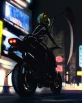 1girl animal_helmet black_bodysuit blurry blurry_background bodysuit building celty_sturluson city city_lights durarara!! ground_vehicle helmet lev_bannikov motor_vehicle motorcycle motorcycle_helmet night outdoors scythe skyscraper solo