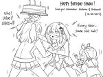 3girls :d anchor_symbol bangs bell blush burning cake candle character_name commentary dated drooling english_commentary english_text eyebrows_visible_through_hair fire food fork greyscale guin_guin hair_bell hair_between_eyes hair_ornament happy_birthday hatsuzuki_(kantai_collection) holding holding_fork holding_plate jacket jingle_bell kantai_collection kashima_(kantai_collection) long_sleeves monochrome mouth_drool multiple_girls open_mouth plate pleated_skirt sailor_collar school_uniform sendai_(kantai_collection) serafuku shirt short_sleeves simple_background skirt smile sweat trembling two_side_up v-shaped_eyebrows white_background