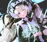 1girl bangs black_background black_headwear black_ribbon blonde_hair blue_eyes blue_nails blunt_bangs blush bonnet candelabra candle commentary cross demon_girl demon_horns demon_wings english_commentary eyebrows_visible_through_hair flower frilled_shirt_collar frilled_sleeves frills gothic_lolita halloween heterochromia highres holding horns lolita_fashion long_hair long_sleeves looking_at_viewer mullpull nail_polish original own_hands_together parted_lips ribbon ribs rose solo twintails upper_body very_long_hair violet_eyes white_flower white_rose white_wings wings