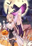 2girls bangs bare_shoulders black_legwear black_skirt blonde_hair broom brown_eyes character_request city commentary copyright_request dress eyebrows_visible_through_hair full_moon gem gloves grin hair_ornament halloween hat highres kyaroru long_hair mengjing_lianjie moon multiple_girls official_art outdoors pumpkin purple_dress purple_headwear scenery sitting skirt smile teeth thigh-highs white_gloves white_hair witch_hat