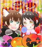 10s 1boy 1girl 2017 adorable animal_costume big_bad_wolf_(cosplay) big_bad_wolf_(grimm) black_hair blush bowtie brown_hair candy comix_wave couple cute dated dress english_commentary fairy_tales fangs gorippe halloween kimi_no_na_wa little_red_riding_hood little_red_riding_hood_(grimm) little_red_riding_hood_(grimm)_(cosplay) lollipop looking_at_viewer miyamizu_mitsuha open_mouth ponytail pumpkin red_dress ribbon star tachibana_taki toho_corp. tongue_out wolf_costume wolf_ears