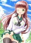 1girl ;d bangs black_legwear black_neckwear blue_sky blush bra breasts brown_hair clouds cloudy_sky collarbone commentary_request day eyebrows_visible_through_hair gochuumon_wa_usagi_desu_ka? green_bra green_eyes green_panties green_sailor_collar green_skirt hair_ribbon highres large_breasts long_hair long_sleeves one_eye_closed open_mouth outdoors panties pleated_skirt purple_ribbon ribbon sailor_collar school_uniform see-through serafuku shirt skirt sky smile solo thigh-highs ujimatsu_chiya underwear very_long_hair water_drop wet wet_clothes wet_shirt wet_skirt white_shirt wringing_clothes wringing_skirt zenon_(for_achieve)
