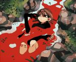 1girl ambiguous_red_liquid black_shirt brown_eyes brown_hair disembodied_hands from_above grass ka_(marukogedago) knees_up long_sleeves lying medium_hair on_back original outdoors partially_submerged river shirt water