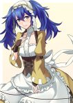 1girl alternate_hairstyle ameno_(a_meno0) apron blue_eyes blue_hair blush bow breasts closed_mouth collarbone commentary_request cosplay dress eyebrows_visible_through_hair fingerless_gloves fire_emblem fire_emblem_awakening frills gloves hair_between_eyes hair_ornament hand_on_own_chest lips lissa_(fire_emblem) lissa_(fire_emblem)_(cosplay) long_hair looking_at_viewer lucina_(fire_emblem) small_breasts smile solo twintails waist_apron white_bow yellow_dress