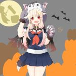 1girl absurdres bat black_ribbon black_serafuku blonde_hair claws fang full_moon gloves grey_sky hair_flaps hair_ornament hair_ribbon hairclip highres hoshino_sora. kantai_collection long_hair looking_at_viewer moon neckerchief open_mouth paw_gloves paws red_eyes red_neckwear remodel_(kantai_collection) ribbon school_uniform serafuku shigure_(kantai_collection) silhouette skin_fang solo standing tail wolf_hood wolf_tail yuudachi_(kantai_collection)