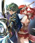 1boy 1girl alm_(fire_emblem) armor arrow bow_(weapon) breasts cape celica_(fire_emblem) closed_mouth fingerless_gloves fire_emblem fire_emblem_echoes:_shadows_of_valentia fire_emblem_heroes from_side fur_trim gloves green_eyes green_hair headpiece holding holding_bow_(weapon) holding_sword holding_weapon long_hair misu_kasumi red_eyes redhead short_hair sideboob sword weapon