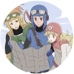 1girl 2boys blonde_hair breasts closed_mouth curly_hair dragon_quest dragon_quest_ii dress gloves goggles goggles_on_head hat hood hyakuen_raitaa long_hair long_sleeves multiple_boys open_mouth prince_of_lorasia prince_of_samantoria princess_of_moonbrook red_eyes spiky_hair sword weapon