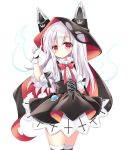 1girl animal_ears azur_lane black_bow black_cape black_skirt blush bow breasts cape chain closed_mouth commentary erebus_(azur_lane) fake_animal_ears glint gloves hood hood_up hooded_cape long_hair looking_at_viewer pleated_skirt puffy_short_sleeves puffy_sleeves red_cape red_eyes shikito shirt short_sleeves simple_background skirt small_breasts solo suspender_skirt suspenders thigh-highs torn_cape torn_clothes very_long_hair white_background white_gloves white_hair white_shirt