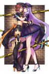 2girls :d absurdly_long_hair black_footwear black_gloves black_headwear black_jacket black_skirt blue_eyes boots breasts brown_hair closed_mouth crop_top fingerless_gloves from_side gloves gun hat high_heels highres holster hug jacket kaname_buccaneer long_hair looking_at_viewer macross macross_delta medium_breasts microskirt mikumo_guynemer miniskirt multiple_girls nail_polish open_mouth peaked_cap pleated_skirt pumps purple_hair purple_headwear purple_jacket red_eyes shimatani_azu shiny shiny_hair short_hair short_sleeves side_slit skirt smile standing thigh-highs thigh_boots thigh_holster very_long_hair weapon white_background zipper