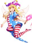 1girl :d american_flag_dress american_flag_legwear bangs blonde_hair blue_dress blue_legwear clownpiece commentary dress eyebrows_visible_through_hair fairy_wings full_body hair_between_eyes hat highres holding holding_torch jester_cap long_hair looking_at_viewer nagomian neck_ruff no_shoes open_mouth pantyhose polka_dot polka_dot_hat purple_headwear red_dress red_eyes red_legwear short_dress short_sleeves simple_background smile solo star star_print striped striped_dress striped_legwear thighs torch touhou white_background white_dress white_legwear wings