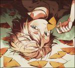 black_shirt brown_hair ginkgo_leaf green_eyes hand_up holding holding_leaf jewelry ka_(marukogedago) leaf looking_at_viewer lying on_side original pendant shirt short_hair short_sleeves smile solo
