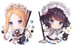2girls abigail_williams_(fate/grand_order) animal apron artist_name bangs black_dress black_footwear black_gloves blonde_hair bloomers blue_eyes blush butterfly_hair_ornament closed_mouth commentary cup dress english_commentary fate/grand_order fate_(series) forehead gloves grey_jacket hair_ornament heroic_spirit_festival_outfit hitsukuya holding holding_tray jacket katsushika_hokusai_(fate/grand_order) long_hair long_sleeves maid_headdress multiple_girls octopus open_clothes open_jacket parted_bangs purple_hair saint_quartz shirt sidelocks signature simple_background sleeveless sleeveless_dress sleeves_past_fingers sleeves_past_wrists smile sparkle stuffed_animal stuffed_toy teacup teapot teddy_bear tentacles tokitarou_(fate/grand_order) tray underwear very_long_hair violet_eyes white_apron white_background white_bloomers white_shirt