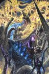 100megagna battle crossover dark_sky debris epic eva_01 fangs flying ghidorah_(godzilla:_the_planet_eater) glowing glowing_eyes godzilla godzilla:_king_of_the_monsters godzilla:_planet_of_the_monsters godzilla_(legendary) godzilla_(series) godzilla_(shin) godzilla_earth highres kaijuu king_ghidorah king_ghidorah_(godzilla:_king_of_the_monsters) mecha monster multiple_heads multiple_persona neon_genesis_evangelion rock shin_godzilla spines tail