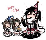 3girls antenna_hair birthday birthday_cake black_gloves black_hair black_neckwear black_skirt blush_stickers brown_eyes brown_hair cake closed_eyes dated double-breasted double_bun elbow_gloves fingerless_gloves food gloves green_headband hair_intakes half_updo hat headband jintsuu_(kantai_collection) kantai_collection long_hair lowres multiple_girls naka_(kantai_collection) necktie party_hat remodel_(kantai_collection) scarf school_uniform sendai_(kantai_collection) serafuku simple_background skirt smile terrajin two_side_up v white_background white_scarf