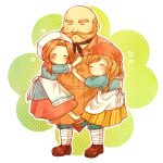 1boy 2girls bald blush braid brown_footwear brown_hair closed_eyes geiza harvest_moon harvest_moon:_connect_to_a_new_land minori_(harvest_moon) multiple_girls mutton_chops polka_dot red_headwear shoes simple_background skirt socks standing tetsubun_supply white_background white_headwear