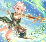 1girl :d antenna_hair bangs bare_shoulders blue_sky blush clouds commentary_request day detached_sleeves dress eyebrows_visible_through_hair flower gatchapowa hair_between_eyes hair_flower hair_ornament holding holding_spear holding_weapon kokkoro_(princess_connect!) long_sleeves looking_away open_mouth outdoors pointy_ears polearm princess_connect! princess_connect!_re:dive puffy_long_sleeves puffy_sleeves see-through see-through_sleeves silver_hair sky sleeveless sleeveless_dress smile solo spear v-shaped_eyebrows violet_eyes weapon white_dress white_flower