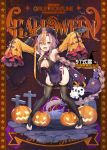1girl absurdly_long_hair bangs bat black_legwear black_nails braid breasts brown_eyes brown_hair character_name chinese_clothes detached_sleeves dress fangs full_body girls_frontline groin halloween_costume hat highres hippos jack-o'-lantern jiangshi jiangshi_costume large_breasts long_hair looking_at_viewer mole mole_under_eye official_art ofuda open_mouth outstretched_arms sidelocks sleeves_past_fingers sleeves_past_wrists solo talisman thigh-highs toeless_legwear type_97_shotgun_(girls_frontline) very_long_hair weapon_bag wide_sleeves