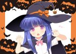 07th_expansion 1girl :o bangs bat black_cape blue_hair blunt_bangs bow bowtie cape claw_pose commentary_request cute eyebrows_visible_through_hair eyes_visible_through_hair fang furude_rika gao gaou halloween hat hat_ribbon higurashi_no_naku_koro_ni jack-o'-lantern loli long_hair looking_at_viewer orange_ribbon outline pink_neckwear ribbon shirt short_sleeves sidelocks solo square_enix studio_deen suspenders translated violet_eyes white_outline white_shirt witch_hat