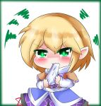 1girl arm_warmers arms_up biting blonde_hair blush border chibi commentary dress eyebrows_visible_through_hair furrowed_eyebrows glowing glowing_eyes green_border green_eyes hair_between_eyes handkerchief holding_handkerchief layered_dress mizuhashi_parsee pointy_ears scarf short_hair short_sleeves simple_background solo squiggle standing tears touhou upper_body wavy_mouth white_background yairenko