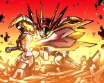 chibi drawing_sword glowing glowing_eyes glowing_sword glowing_weapon highres ishiyumi mashin_eiyuuden_wataru mecha no_humans rubble ryuuoumaru shield super_robot sword weapon