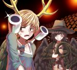 2girls bird_wings black_background blonde_hair blue_bow blush bow brown_coat closed_eyes coat commentary_request cosplay cowboy_hat cowboy_shot dragon_horns eyebrows_visible_through_hair glint grin hair_over_one_eye halloween halloween_costume hat holding_whip horns indiana_jones indiana_jones_(cosplay) indiana_jones_and_the_raiders_of_the_lost_ark jitome kicchou_yachie kurokoma_saki long_sleeves multiple_girls open_clothes open_coat open_mouth partial_commentary pokemon shell shirt sideways_glance smile sunyup sweatdrop touhou whip white_shirt wings