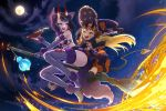 2girls alcohol animal_ears arm_up ass bikini black_bikini_bottom black_cape black_dress black_gloves black_legwear blonde_hair bow breasts broom cape clouds cup demon_tail dress elbow_gloves facial_mark fangs fate/grand_order fate_(series) flying forehead_mark full_moon fur_bikini fur_trim gloves hair_bow halloween hand_on_another's_waist hand_on_headwear hat highres horns ibaraki_douji_(fate/grand_order) kachin lantern moon multiple_girls night night_sky oni oni_horns open_mouth orange_dress purple_bikini_top purple_hair ribbon sakazuki sake short_hair shuten_douji_(fate/grand_order) sky small_breasts smile star_(sky) starry_sky strapless strapless_dress striped striped_dress swimsuit tail thigh-highs two-tone_dress violet_eyes witch_hat wolf_ears wolf_tail yellow_eyes