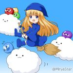 1girl :3 :d bangs blonde_hair blue_background blue_dress blue_eyes blue_footwear blue_headwear blue_ribbon boots broom broom_riding closed_mouth clouds commentary_request dress eyebrows_visible_through_hair flying_sweatdrops gradient gradient_background holding long_hair miicha open_mouth parted_lips puyopuyo ribbon shoe_soles smile star twitter_username very_long_hair witch_(puyopuyo)