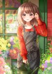 1girl apron breasts brown_eyes brown_hair day florist flower hand_up highres kawanobe long_sleeves looking_at_viewer medium_breasts medium_hair original outdoors plant potted_plant red_sweater solo standing sweater watering_can window