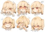 ... 1girl bangs blonde_hair blush commentary constricted_pupils crying crying_with_eyes_open eyebrows_visible_through_hair fang flandre_scarlet flying_sweatdrops gotoh510 hair_between_eyes hands_up heart heart-shaped_pupils highres looking_at_viewer multiple_views nose_blush one_eye_closed one_side_up open_mouth parted_lips profile red_eyes short_hair simple_background smile spoken_ellipsis symbol-shaped_pupils symbol_commentary tears touhou translation_request white_background wrist_cuffs