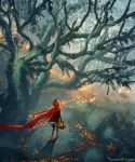 1girl basket black_legwear cloak day forest from_above from_behind highres hood hood_up hooded_cloak little_red_riding_hood little_red_riding_hood_(grimm) nature overcast red_cloak red_hood solo tree walking watermark web_address wenqing_yan wind