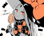 1girl :q abigail_williams_(fate/grand_order) absurdres bangs bow candy candy_wrapper closed_mouth eyebrows_visible_through_hair fate/grand_order fate_(series) food happy_halloween hat hat_bow highres holding holding_food holding_lollipop keyhole lollipop long_hair looking_at_viewer monochrome parted_bangs signature simple_background smile sofra solo swirl_lollipop tongue tongue_out upper_body white_background witch_hat