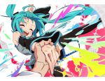 1girl :d ^_^ bare_shoulders bass_clef beamed_eighth_notes black_legwear black_skirt blue_hair blue_nails blurry border closed_eyes colorful cursor depth_of_field detached_sleeves eyelashes fingernails floating_hair gradient grey_shirt happy hatsune_miku heart highres holding_hands iihoneikotu long_hair long_sleeves multicolored musical_note open_mouth paper pleated_skirt pov pov_hands pulling sheet_music shirt skirt sleeveless sleeveless_shirt smile solo sparkle teeth thigh-highs tongue treble_clef twintails upper_teeth very_long_hair vocaloid white_border wind wind_lift