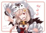 1girl artist_name baileys_(tranquillity650) black_serafuku blonde_hair commentary_request eyebrows_visible_through_hair fang fur_scarf gloves hair_between_eyes hair_flaps hair_ornament hair_ribbon hairclip halloween_costume highres kantai_collection looking_at_viewer neckerchief one_eye_closed paw_gloves paw_pose paws red_eyes red_neckwear remodel_(kantai_collection) ribbon sailor_collar school_uniform serafuku signature sketch solo wolf_hood wolf_paws yuudachi_(kantai_collection)