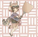 1girl :3 :p adapted_costume animal_ears black_gloves black_hair black_skirt blush common_raccoon_(kemono_friends) crumbs elbow_gloves extra_ears eyebrows_visible_through_hair full_body gloves grey_hair highres japanese_clothes kemono_friends kolshica multicolored multicolored_clothes multicolored_gloves multicolored_hair oar pantyhose plaid pleated_skirt raccoon_ears raccoon_girl raccoon_tail sandals short_hair skirt solo tail tongue tongue_out white_gloves white_legwear