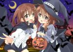 2girls alternate_costume back_bow bat black_cape bow bowtie brown_eyes brown_hair cape collarbone commentary_request cookie crescent_moon fang folded_ponytail food hair_ornament hairclip halloween hat highres hizuki_yayoi holding_lollipop ikazuchi_(kantai_collection) inazuma_(kantai_collection) kantai_collection long_skirt long_sleeves moon multiple_girls night night_sky open_mouth pumpkin shirt short_hair shorts skin_fang skirt sky v white_shirt witch_hat