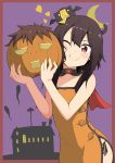 1girl bangs bare_arms bare_shoulders bat_wings black_cat black_hair black_panties blunt_bangs blush_stickers breasts brown_hair building cape cat choker chomusuke crescent_moon dress eyebrows_visible_through_hair halloween halloween_costume heart hitodama holding jack-o'-lantern kono_subarashii_sekai_ni_shukufuku_wo! megumin moon ofuda one_eye_closed orange_dress panties pumpkin red_eyes salpin satou_kazuma side-tie_panties side_slit small_breasts smile solo strapless strapless_dress tube_dress underwear wings