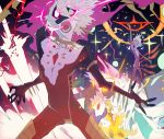1boy abstract arm_up blue_eyes bodysuit chest collarbone fate/apocrypha fate_(series) glowing glowing_eye glowing_eyes hair_between_eyes karna_(fate) kibadori_rue male_focus screaming shaded_face teeth tight tongue white_hair