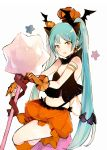 1girl :d aqua_hair bangs bare_shoulders black_camisole black_wings blush brown_eyes bubble_skirt camisole crypton_future_media eyebrows_visible_through_hair fang gloves halloween hatsune_miku head_wings kneehighs long_hair looking_at_viewer lpip moe navel open_mouth orange_gloves orange_legwear orange_skirt pumpkin simple_background skirt smile solo star twintails very_long_hair vocaloid white_background wings yamaha_(company)