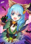 1girl :d ahoge animal_ears bangs bat black_gloves blue_eyes blue_hair braid claw_pose dress fake_animal_ears fangs food_themed_hair_ornament fur-trimmed_gloves fur_trim gloves green_capelet green_dress hair_ornament halloween koyomi_(shironeko_project) looking_at_viewer milcho open_mouth paw_gloves paws polka_dot polka_dot_dress pumpkin_hair_ornament shironeko_project smile solo star star-shaped_pupils symbol-shaped_pupils twin_braids wolf_ears