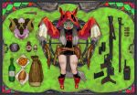 1girl animal_ears animal_head bangs black_legwear blood boots border bottle bread bullet copyright_name drawstring english_text fanny_pack food full_body green_background green_eyes grey_hair gun handgun hood hood_up kneehighs leotard long_hair long_sleeves looking_at_viewer nail nowaki_nakasane open_mouth outstretched_arms pie poison pouch red_footwear red_hood rock scar shaded_face sheep_head skull_print sleeves_past_fingers sleeves_past_wrists solo split_theme stained_glass the_boy_who_cried_wolf tongue tongue_out turtleneck walkie-talkie weapon weapon_request wheel wolf_ears wolf_hood zombie_pose