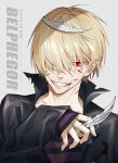 1boy 954740837 bangs belphegor_(reborn) blonde_hair blood blood_on_face bloody_clothes bloody_weapon buttons character_name collar crown dagger grey_background hair_over_one_eye holding holding_dagger holding_weapon katekyo_hitman_reborn long_sleeves looking_at_viewer male_focus red_eyes shirt short_hair simple_background smile solo striped striped_shirt teeth upper_body weapon
