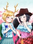 2girls absurdres bandana bangs bare_shoulders black_hair black_wings blonde_hair blue_bow blue_shirt blue_skirt blush bow brown_headwear commentary_request cowboy_hat cowboy_shot cracking_knuckles dragon_horns feathered_wings hand_on_hip hand_up hat highres horns kicchou_yachie kurokoma_saki kurono_(lamm) long_hair long_sleeves looking_at_another low_ponytail multiple_girls off-shoulder_shirt off_shoulder own_hands_together plaid plaid_skirt pleated_skirt puffy_short_sleeves puffy_sleeves red_eyes red_skirt shirt short_hair short_sleeves skirt standing swept_bangs touhou v-shaped_eyebrows very_long_hair wings