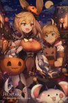1boy 1girl animal_ears bag basket bat bear_ears belt black_legwear blonde_hair blue_eyes breasts candy cape cat clouds commentary covered_navel dragalia_lost dragon dragon_horns elisanne english_commentary euden eyebrows_visible_through_hair food food_themed_hair_ornament full_moon green_eyes hair_ornament halloween halloween_costume hat hentaki horns jack-o'-lantern large_breasts light_particles long_hair maritimus_(dragalia_lost) moon night night_sky open_mouth paper_bag petals pumpkin pumpkin_hair_ornament short_hair short_sleeves silk sky smile spider_web star_(sky) starry_sky town violet_eyes white_legwear witch_hat