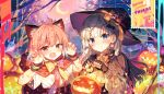 2girls :q ahoge animal_ear_fluff animal_ears bandaid bangs black_capelet black_gloves black_headwear blue_eyes blush bone_hair_ornament bow cape capelet cat_ears claw_pose commentary_request crescent crescent_hair_ornament crescent_moon earrings eyebrows_visible_through_hair fang fingerless_gloves ghost gloves hair_ornament halloween hand_up hat hat_bow heterochromia hood hooded_cape jack-o'-lantern jewelry long_sleeves looking_at_viewer moon multiple_girls night night_sky open_mouth orange_bow original outdoors pink_hair red_cape red_eyes shinoba shirt short_hair short_sleeves silver_hair skull_hair_ornament sky smile tongue tongue_out upper_body violet_eyes white_shirt witch_hat wristband x_hair_ornament