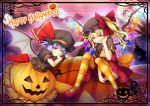 2girls :d ascot bangs bat_wings black_headwear black_shirt blue_hair border chima_q commentary_request crystal dress eyebrows_visible_through_hair fang fang_out flandre_scarlet hair_between_eyes halloween hand_on_own_cheek hand_up happy_halloween hat hat_ribbon highres holding jack-o'-lantern laevatein looking_at_viewer mary_janes mob_cap multiple_girls one_side_up open_mouth orange_legwear orange_skirt panties pantyshot pantyshot_(sitting) puffy_short_sleeves puffy_sleeves red_dress red_eyes red_footwear red_ribbon remilia_scarlet ribbon shirt shoes short_dress short_hair short_sleeves siblings sisters sitting skirt smile striped striped_legwear touhou underwear wings wrist_cuffs yellow_neckwear