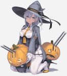 +_+ 1girl adapted_costume bangs blue_eyes bow breasts cape chou-10cm-hou-chan_(suzutsuki's) cleavage_cutout clothes_writing collared_shirt commentary_request corset eyebrows_visible_through_hair eyelashes frilled_sleeves frills full_body grey_cape halloween happy_halloween hat hat_bow high_heels highres jack-o'-lantern kantai_collection long_hair long_sleeves medium_breasts miniskirt necktie one_side_up pleated_skirt pumpkin rokuwata_tomoe shirt silver_hair sitting skirt smile solo suzutsuki_(kantai_collection) weapon white_legwear white_shirt white_skirt wide_sleeves witch witch_hat yellow_footwear yellow_neckwear