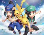 1boy 1girl :d backpack bag baseball_cap black_hair black_legwear black_pants blue_headwear blue_shorts blue_sky cellphone clouds collarbone commentary_request gen_1_pokemon gonzarez green_headwear grey_eyes hair_bun hat holding holding_poke_ball jacket kei_(pokemon) leggings legwear_under_shorts open_mouth outstretched_arm pants pantyhose petals phone pikachu poke_ball poke_ball_(generic) pokemon pokemon_(creature) pokemon_(game) pokemon_masters porygon running shoes short_sleeves shorts sidelocks sky smartphone smile yui_(pokemon)